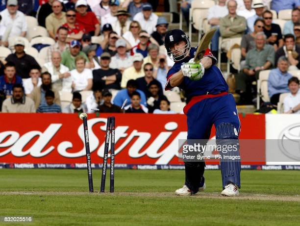 England's Jamie Dalrymple is bowled out against Sri Lanka during the One Day International at Old Trafford Manchester