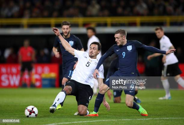 England's Jamie Vardy and Germany's Mats Hummels battle for the ball during the International Friendly match at Signal Iduna Park Dortmund
