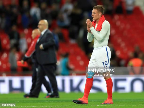 England's Jamie Vardy applauds supporters after the final whistle