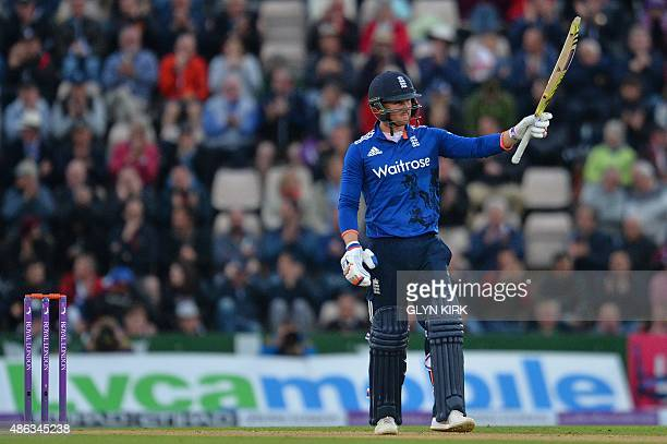 England's Jason Roy acknowledges the crowd after reaching his halfcentury during the first one day international cricket match between England and...