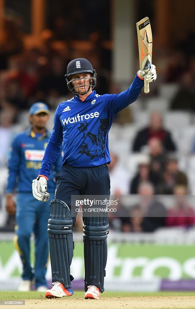 England's Jason Roy celebrates reaching his 50 during play in the fourth One Day International (ODI) cricket match between England and Sri Lanka at The Oval cricket ground in London on June 29, 2016. England's victory target was revised to 308 off 42 overs due to the weather having seen the tourists show real guile and style in their innings. ECB