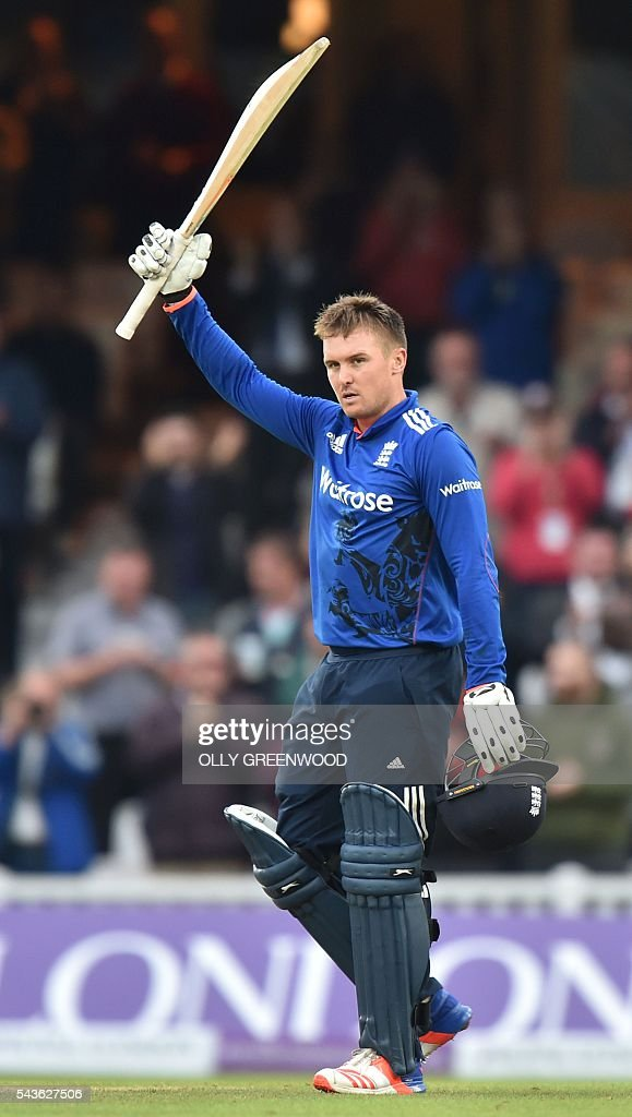 England's Jason Roy celebrates reaching his century during play in the fourth One Day International (ODI) cricket match between England and Sri Lanka at The Oval cricket ground in London on June 29, 2016. England's victory target was revised to 308 off 42 overs due to the weather having seen the tourists show real guile and style in their innings. / AFP / OLLY