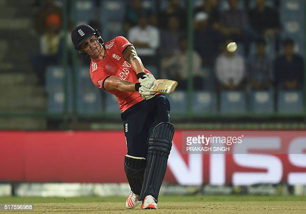 England's Jason Roy hits a six during the World T20 cricket tournament match between England and Sri Lanka at the Feroz Shah Kotla cricket ground in...
