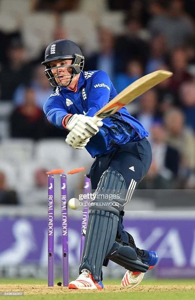 England's Jason Roy is bowled by Sri Lanka's Nuwan Pradeep for 162 during play in the fourth One Day International (ODI) cricket match between England and Sri Lanka at The Oval cricket ground in London on June 29, 2016. England's victory target was revised to 308 off 42 overs due to the weather having seen the tourists show real guile and style in their innings. / AFP / OLLY