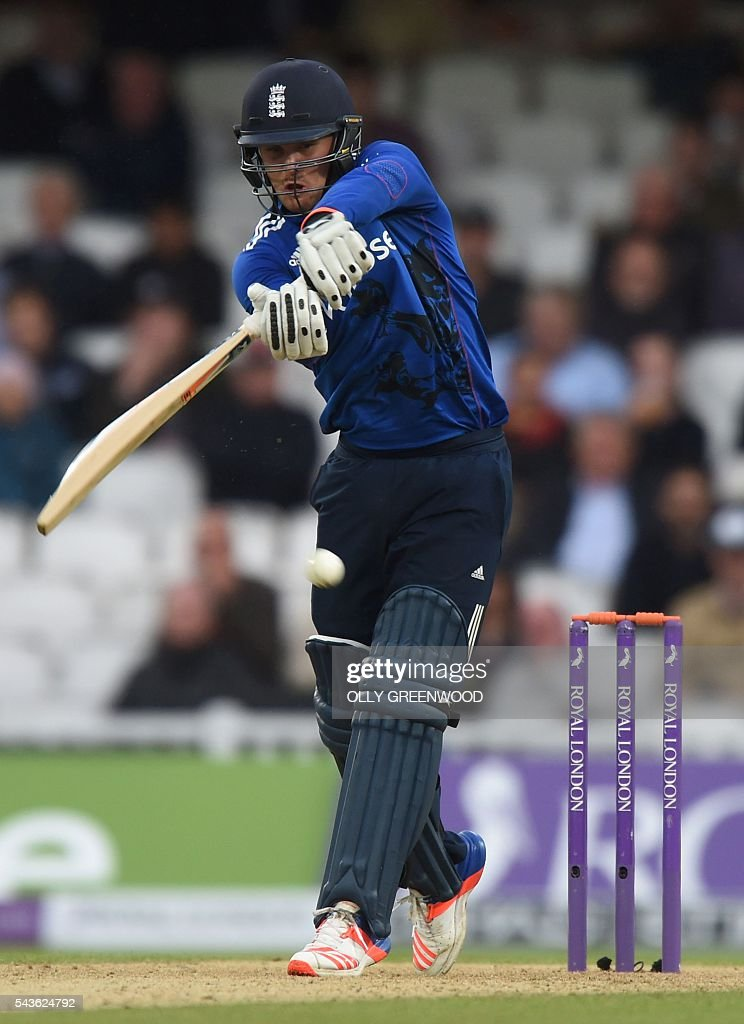England's Jason Roy plays a shot during play in the fourth One Day International (ODI) cricket match between England and Sri Lanka at The Oval cricket ground in London on June 29, 2016. England's victory target was revised to 308 off 42 overs due to the weather having seen the tourists show real guile and style in their innings. / AFP / OLLY