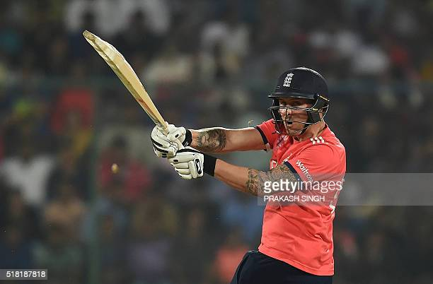 England's Jason Roy plays a shot during the World T20 cricket tournament semifinal match between England and New Zealand at The Feroz Shah Kotla...