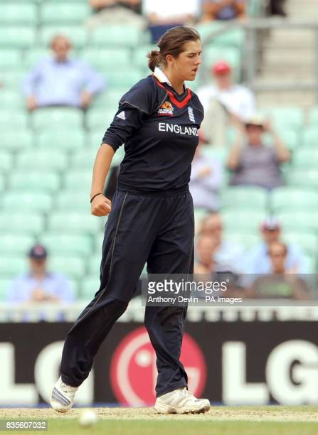 England's Jenny Gunn celebrates taking the wicket of Alex Blackwell during the ICC Women's World Twenty20 Semi Final at The Oval London