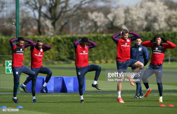 England's Jesse Lingard Nathan Redmond Marcus Rashford Eric Dier and Ross Barkley during the training session at Enfield Training Ground London