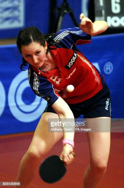 England's Joanna Parker in action during India's Table Tennis Tour at Dormers Wells Leisure Centre in Southall London