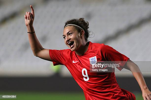 England's Jodie Taylor celebrates a goal during the Cyprus Cup match between England and Australia at GSP stadium on March 6 2015 in Nicosia Cyprus