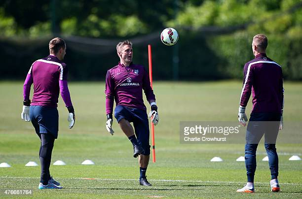 England's Joe Hart warms up during the England Training Session ahead of their EURO 2016 Group E qualifier against Slovenia on June 06 2015 in St...