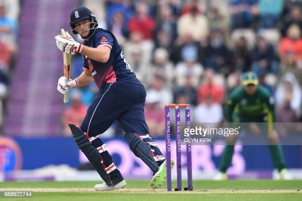 England's Joe Root bats during the second OneDay International between England and South Africa of the South Africa in England series in Southampton...