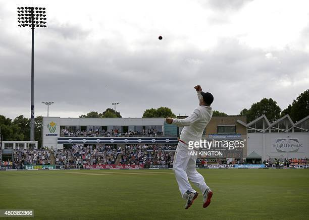 England's Joe Root celebrates catching Australia's Josh Hazlewood to win the first test for England on the fourth day of the opening Ashes cricket...