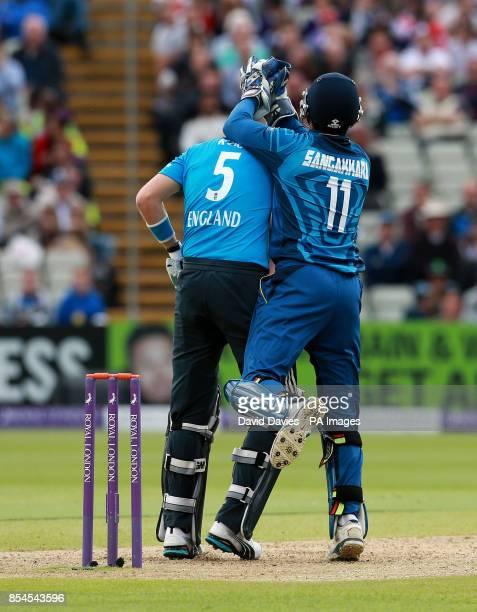 England's Joe Root is caught by Sri Lanka's Kumar Sangakkara during the One Day International at Edgbaston Birmingham