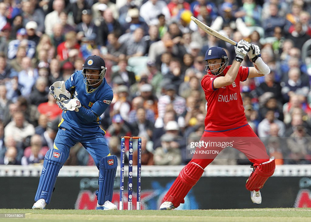 England's Joe Root plays a shot as Sri Lanka's Wicketkeeper Kumar Sangakkara (L) looks on during the 2013 ICC Champions Trophy One Day International (ODI) cricket match between England and Sri Lanka at The Oval cricket ground in London on June 13, 2013. Sri Lanka won the toss and elected to field first.