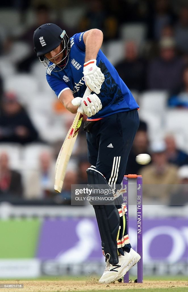 England's Joe Root plays a shot during play in the fourth One Day International (ODI) cricket match between England and Sri Lanka at The Oval cricket ground in London on June 29, 2016. England's victory target was revised to 308 off 42 overs due to the weather having seen the tourists show real guile and style in their innings. ECB