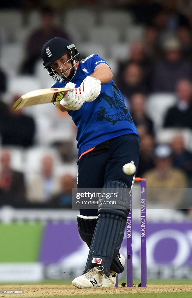 England's Joe Root plays a shot during play in the fourth One Day International (ODI) cricket match between England and Sri Lanka at The Oval cricket ground in London on June 29, 2016. England's victory target was revised to 308 off 42 overs due to the weather having seen the tourists show real guile and style in their innings. / AFP / OLLY