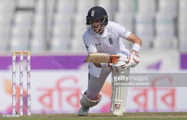 England's Joe Root plays a shot during the second day of the second Test cricket match between Bangladesh and England at the ShereBangla National...
