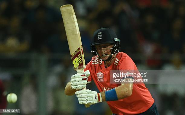 England's Joe Root plays a shot during the World T20 cricket tournament match between England and West Indies at The Wankhede Cricket Stadium in...