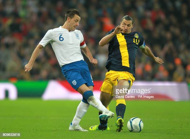 England's John Terry and Sweden's Zlatan Ibrahimovic battle for the ball