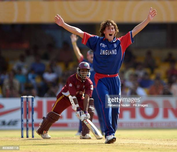 England's Jon Lewis appeals successfully for the wicket of West Indies' Shivnarine Chanderpaul during the ICC Champions Trophy match at the Sardar...