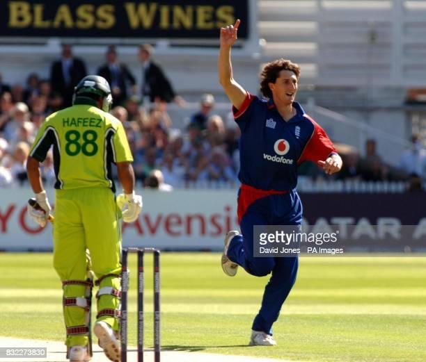 England's Jon Lewis dismisses Pakistan's Mohammad Hafeez for 8 runs during the 4th NatWest Series OneDay International at Trent Bridge Nottingham