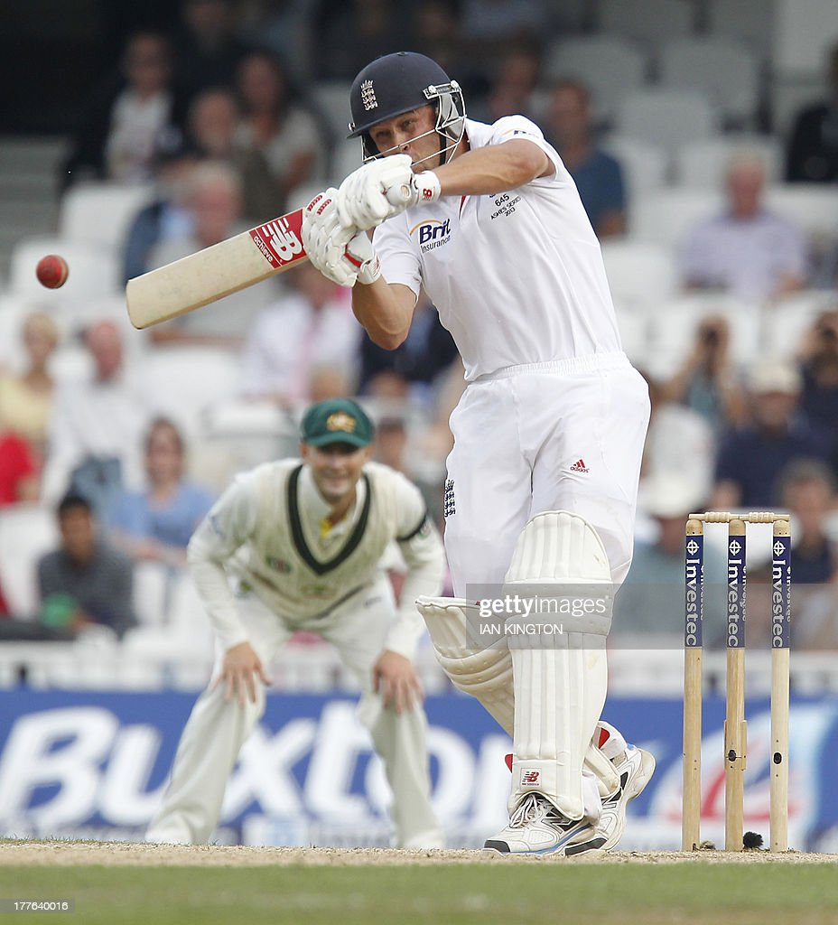 England's Jonathan Trott hits a shot during the fifth day of the fifth Ashes cricket test match between England and Australia at the Oval cricket ground in London on August 25, 2013. AFP PHOTO / IAN KINGTON -- RESTRICTED TO EDITORIAL USE. NO ASSOCIATION WITH DIRECT COMPETITOR OF SPONSOR, PARTNER, OR SUPPLIER OF THE ECB