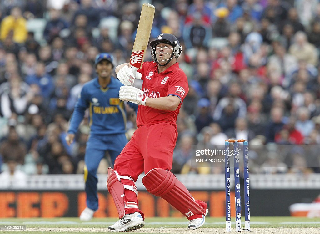 England's Jonathan Trott looks on after playing a shot during the 2013 ICC Champions Trophy One Day International (ODI) cricket match between England and Sri Lanka at The Oval cricket ground in London on June 13, 2013. Sri Lanka won the toss and elected to field first.