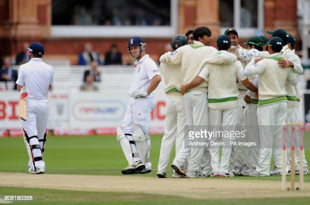 England's Jonathan Trott lookson as Paul Collingwood is given out following a referral during the Fourth npower Test match at Lord's Cricket Ground...