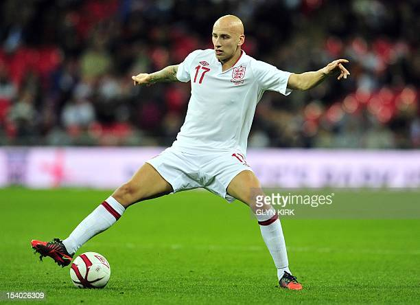 England's Jonjo Shelvey controls the ball during the World Cup 2014 group H qualifying football match against San Marino at Wembley Stadium in London...