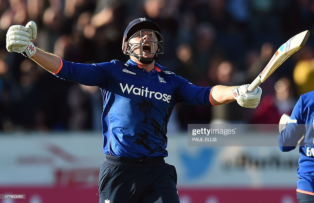 England's Jonny Bairstow celebrates after hitting the winning runs during the fifth one day international cricket match between England and New...