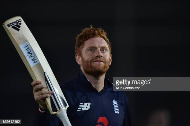 England's Jonny Bairstow leaves the field as England win the final OneDay International cricket match between England and the West Indies at the...