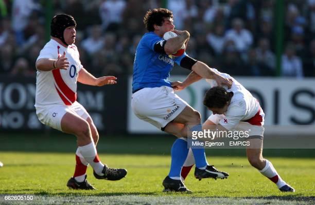 England's Jonny Wilkinson and Matt stevens and Italy's sergio Parisse