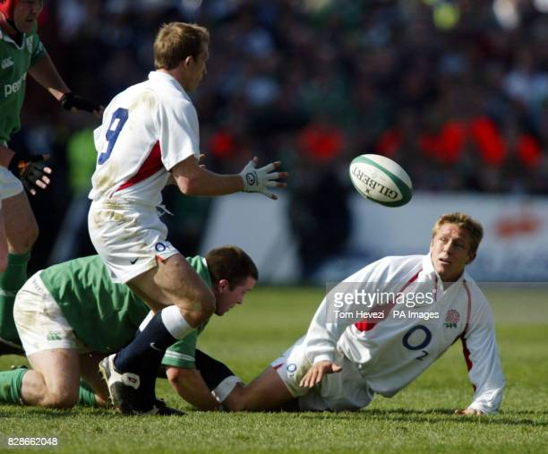 England's Jonny Wilkinson gets the ball to Matt Dawson during the RBS 6 Nations match between England and Ireland at Landsdowne Road