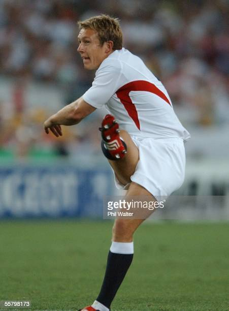 England's Jonny Wilkinson kicks the first dropgoal in the Rugby World Cup semifinal match played against France at Telstra Stadium SundayEngland won...