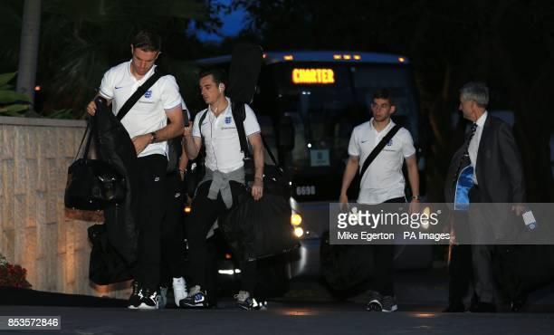 England's Jordan Henderson and Leighton Baines arrive at the Mandarin Oriental Hotel in Miami USA