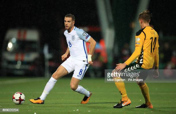 England's Jordan Henderson in action with Lithuania's Vykintas Slivka during the 2018 FIFA World Cup Qualifying Group F match at the LFF Stadium...