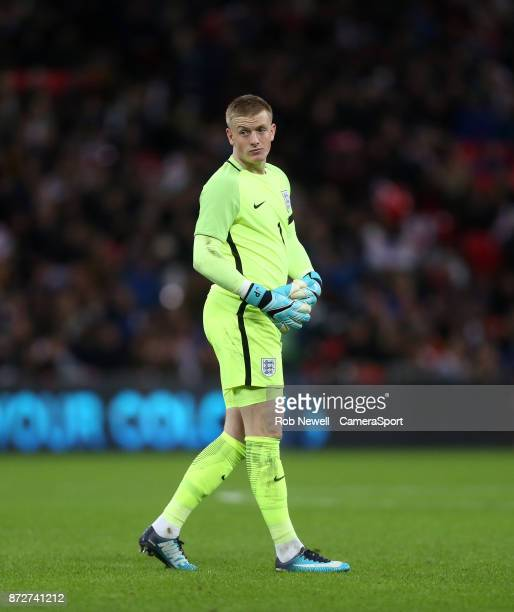 England's Jordan Pickford during the International Football Friendly match between England and Germany at Wembley Stadium on November 10 2017 in...