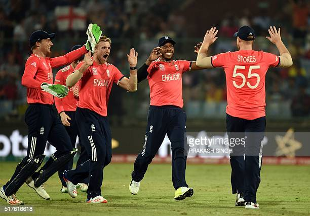 England's Jos Buttler David Willey Chris Jordan and Ben Stokes celebrate the runout of unseen Sri Lanka's Lahiru Thirimanne during the World T20...