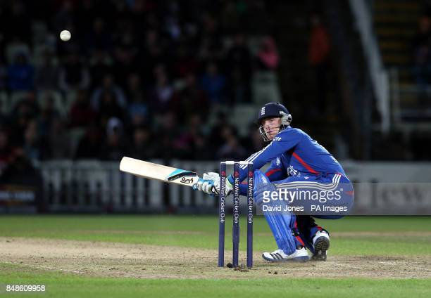 England's Joss Buttler off the bowling of South Africa's Mornie Morkel during the NatWest International T20 match at Edgbaston Brimingham
