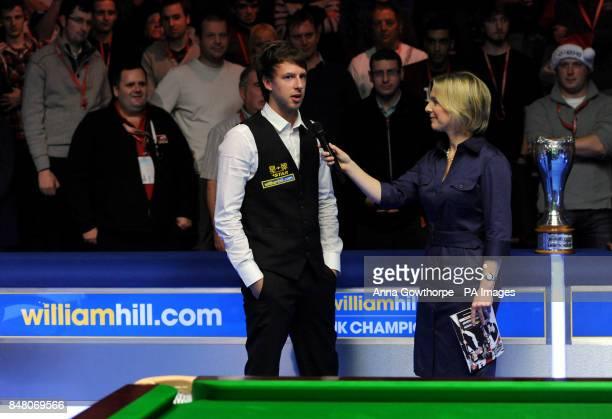 England's Judd Trump talks to Hazel Irvine after winning the williamhillcom UK Championships at the Barbican Centre York