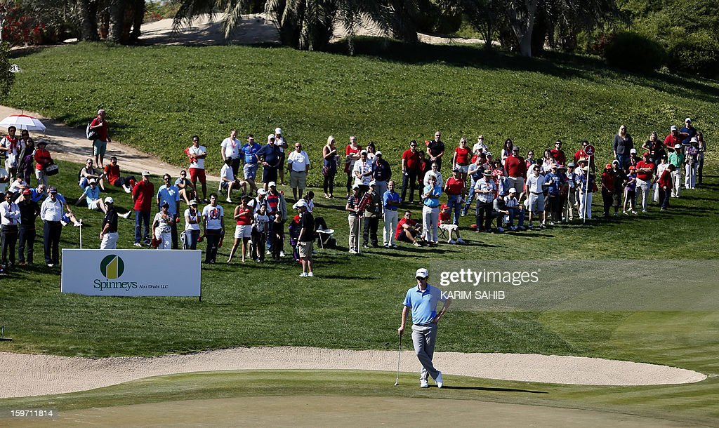 England's Justin Rose awaits his turn during the third round of the Abu Dhabi Golf Championship at the Abu Dhabi Golf Club in the Emirati capital on January 19, 2013.
