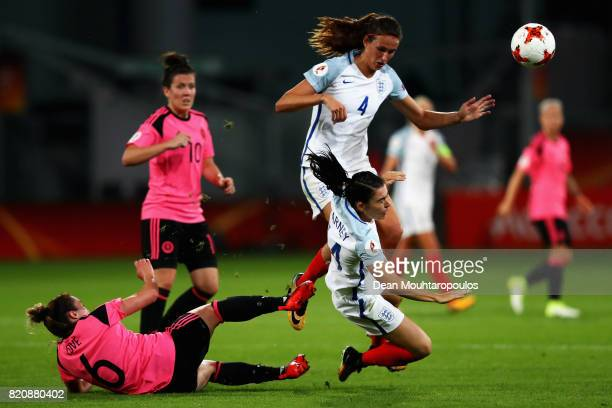 England's Karen Carney is hacked down by Scotland's Joanna Love as Jill Scott of England looks to get out the way during the UEFA Women's Euro 2017...