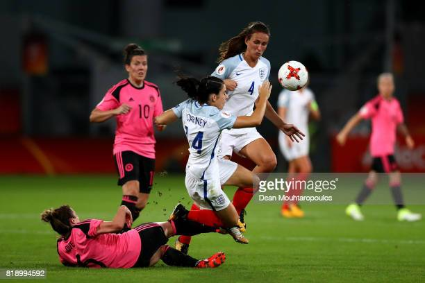 England's Karen Carney is hacked down by Scotland's Joanna Love during the UEFA Women's Euro 2017 Group D match between England and Scotland at...