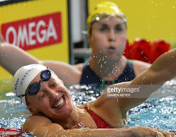 England's Karen Pickering celebrates after winning the gold medal during the 2002 Manchester Commonwealth Games women's 200m freestyle final 30 July...