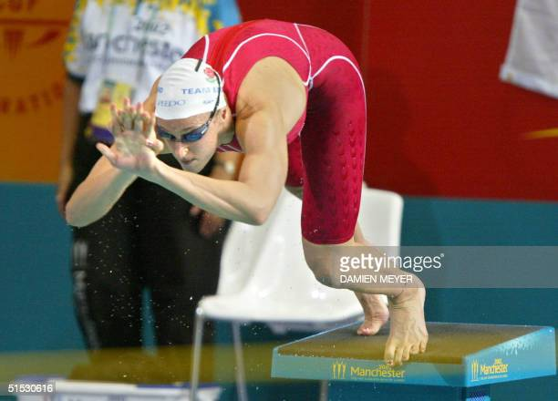 England's Karen Pickering in action during the 2002 Manchester Commonwealth Games women's 100m freestyle first round 31 July 2002 AFP PHOTO DAMIEN...