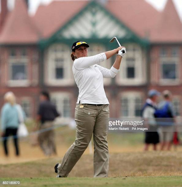 England's Karen Stupples plays a shot on the second fairway during the third round of the Weetabix Women's British Open at Royal Lytham and St Annes...