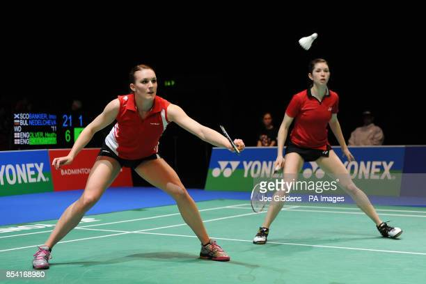 England's Kate Robertshaw and Heather Olver in action against Scotland's Imogen Bankier and Bulgaria's Petya Nedelcheva during day one of the 2013...