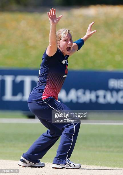 England's Katherine Brunt appeals for a wicket during the Women's One Day International match between Australia and England on October 26 2017 in...