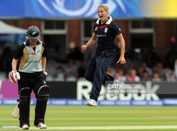 England's Katherine Brunt celebrates after taking the wicket of New Zealand's Lucy Doolan during the Final of the Women's ICC World Twenty20 at Lords...